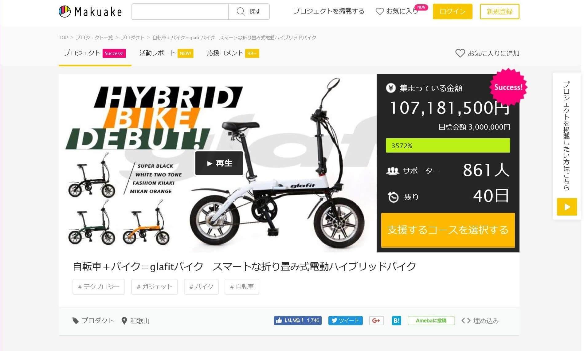 ★ハイブリッドバイク glafit®が1億718万円の資金調達に成功