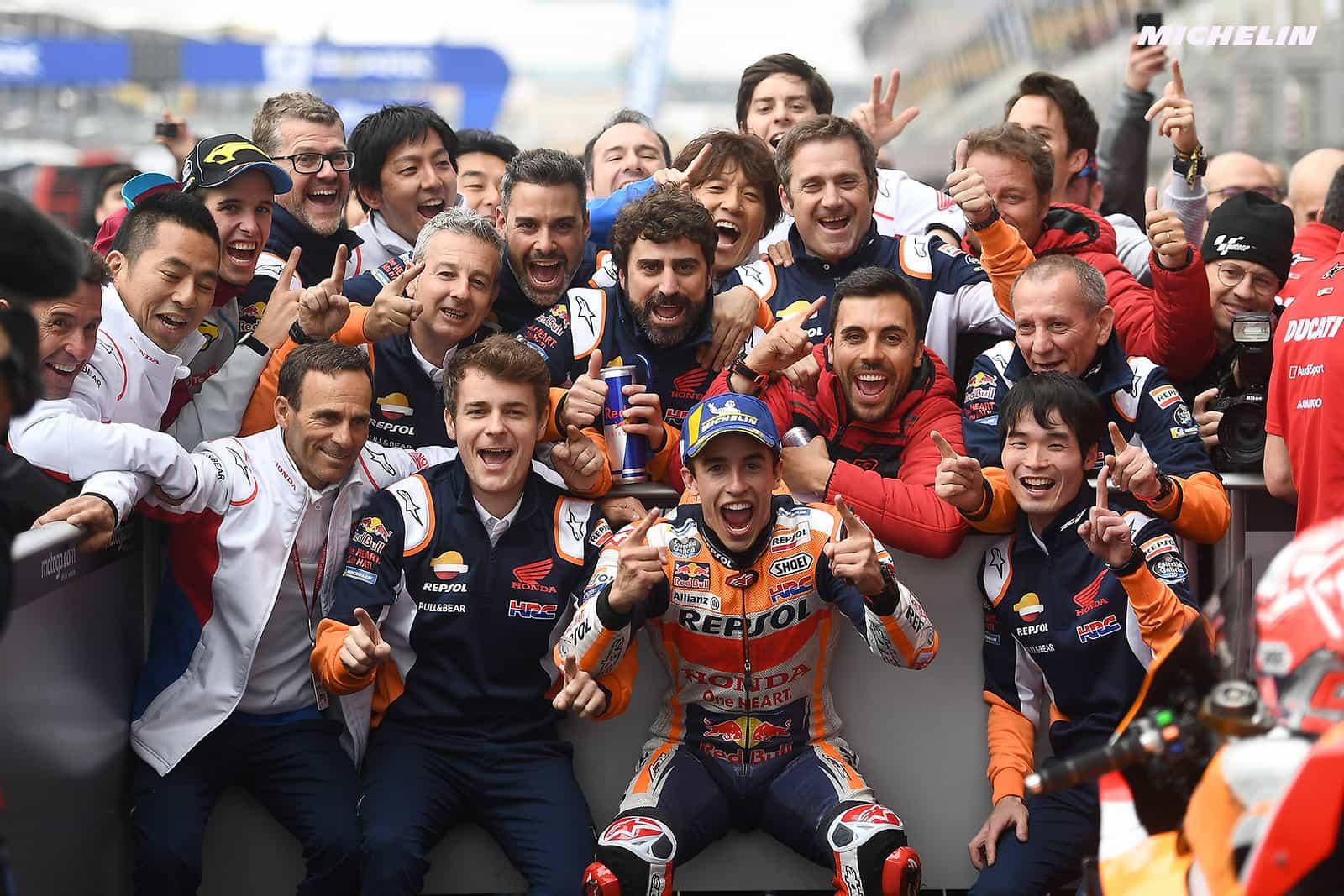 MotoGP2019フランスGP パルクフェルメコメント 優勝マルケス「Ducatiとヤマハが速いトラックで優勝出来て嬉しい」