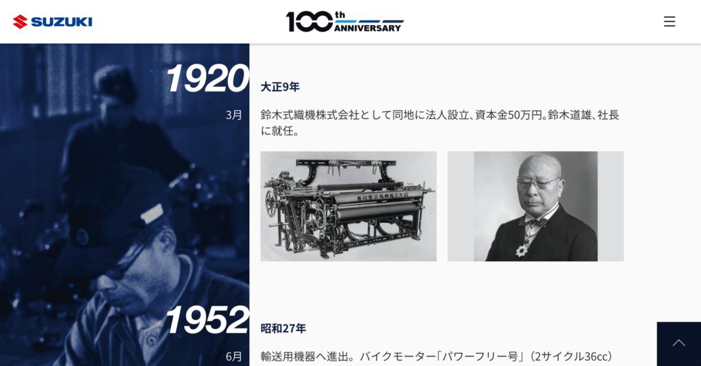 2020年3月15日でスズキ株式会社は創立100周年を迎えた。