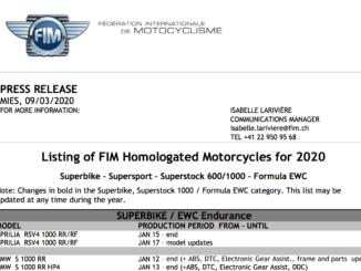FIM 2020年の各選手権のホモロゲーション取得車両リストを公開