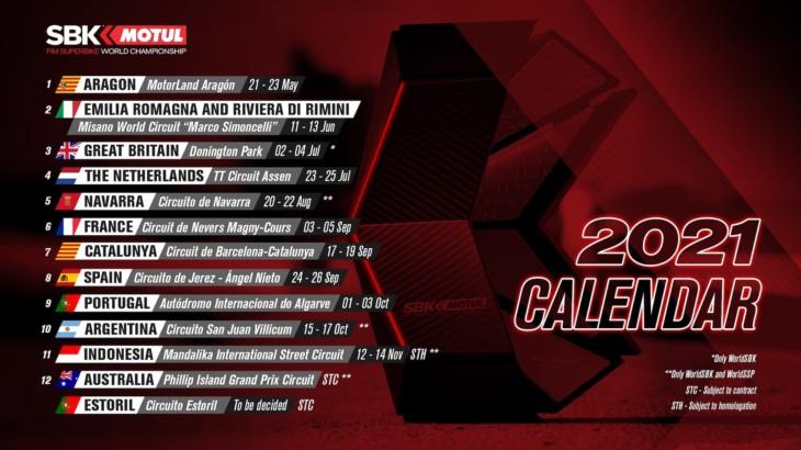 FIM スーパーバイク世界選手権(SBK) 開幕戦がアラゴンに変更/新たにナバラ・サーキットで第5戦を開催
