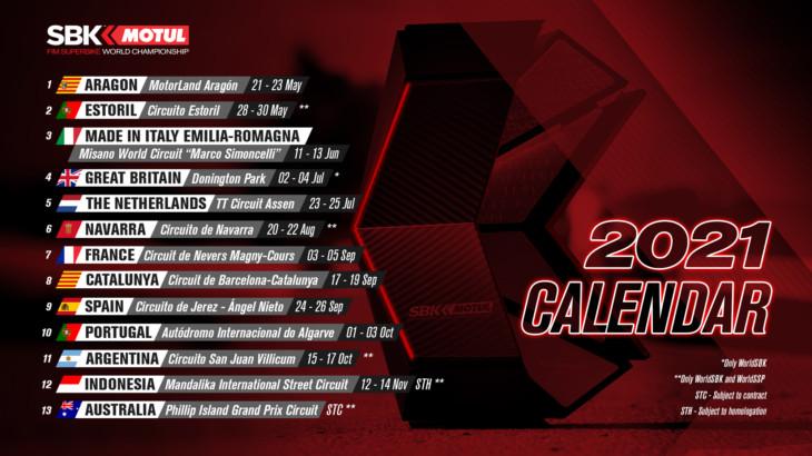 FIM スーパーバイク世界選手権(SBK) 暫定カレンダーアップデート エストリルが第2戦に追加