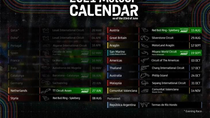 MotoGP2021年カレンダーがアップデート 10月に予定されていた日本GPの中止が決定